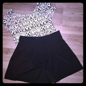 Black high waisted pleated shorts